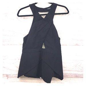ANGL black cut out halter top peplum blouse large